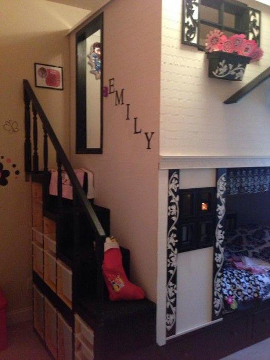 loft playhouse bed habitaciones infantiles pinterest kinderzimmer hochbett und haus. Black Bedroom Furniture Sets. Home Design Ideas