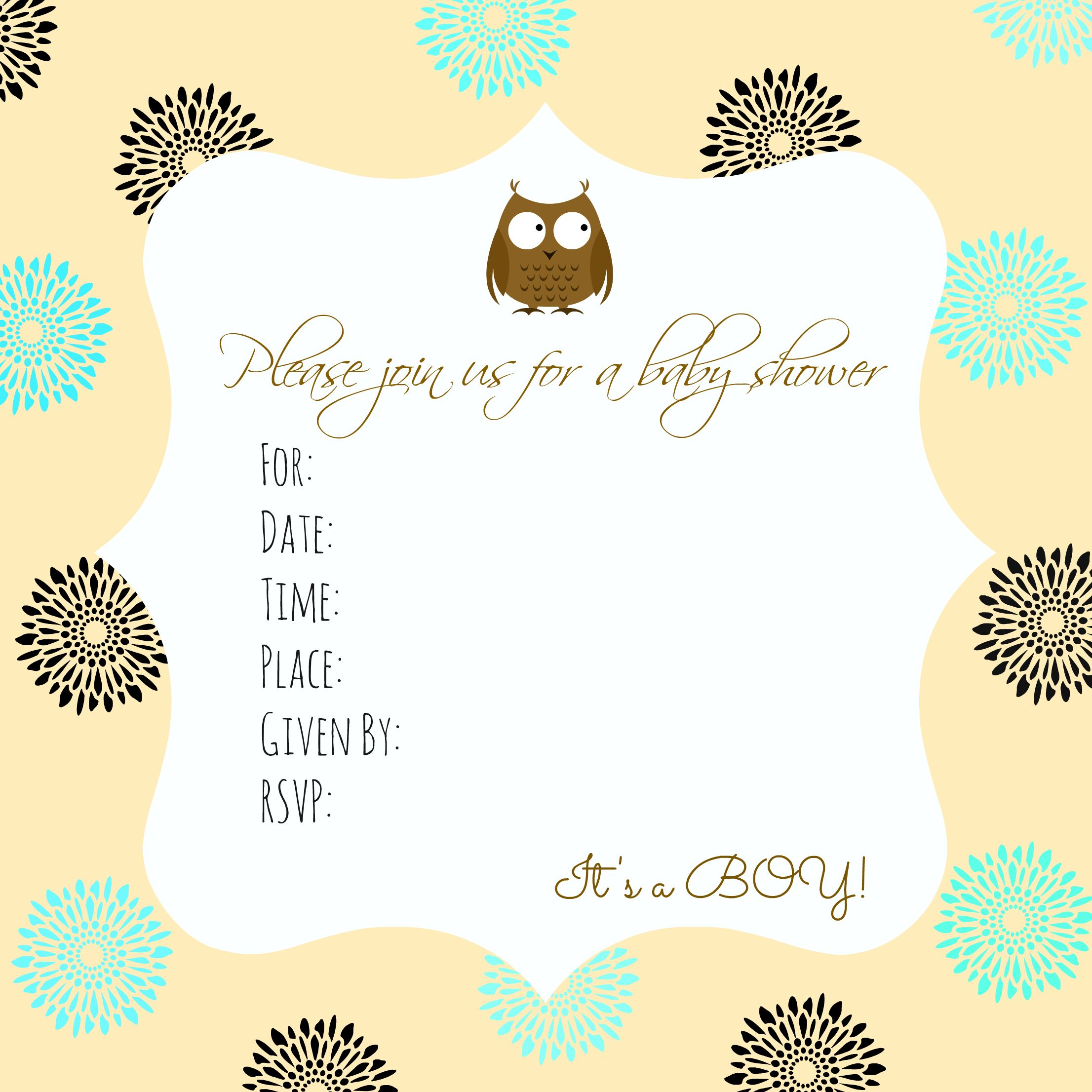 Free baby shower invitation printable Baby Boy Owl – Printable Baby Shower Invite