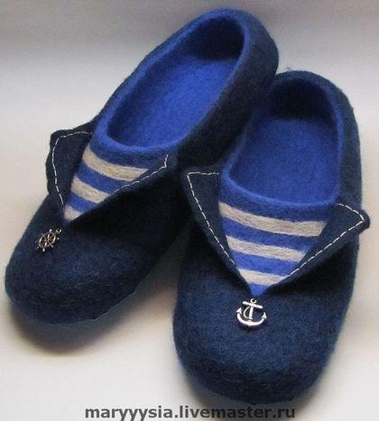 """Обувь ручной работы. Ярмарка Мастеров - ручная работа. Купить мужские тапки """" По волнам, по морям..."""". Handmade."""