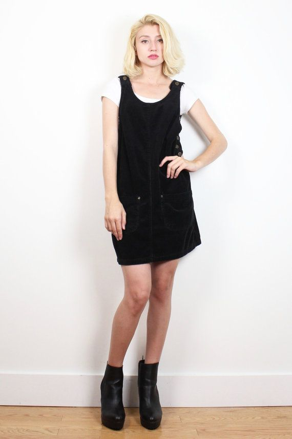9afb0eace8b Vintage 1990s Dress Black Corduroy Jumper Overalls Dress 90s Dress Soft  Grunge Pinafore Dungarees Shift Dress