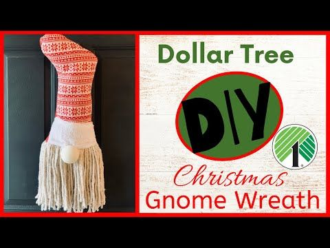 Dollar Tree DIY Christmas Gnome Wreath - YouTube #dollartreecrafts