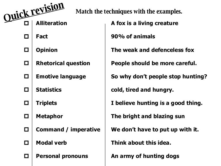 Quick Revision Match The Techniques With The Examples Alliteration