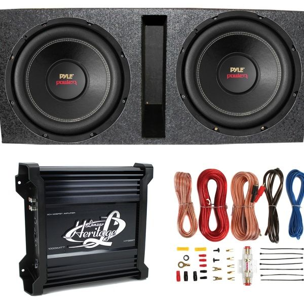 2 Pyle 15 Plpw15d Subwoofers Vented Box Lanzar 2 Channel Amp Wiring Kit Wish Subwoofer Ported Box Car Subwoofer