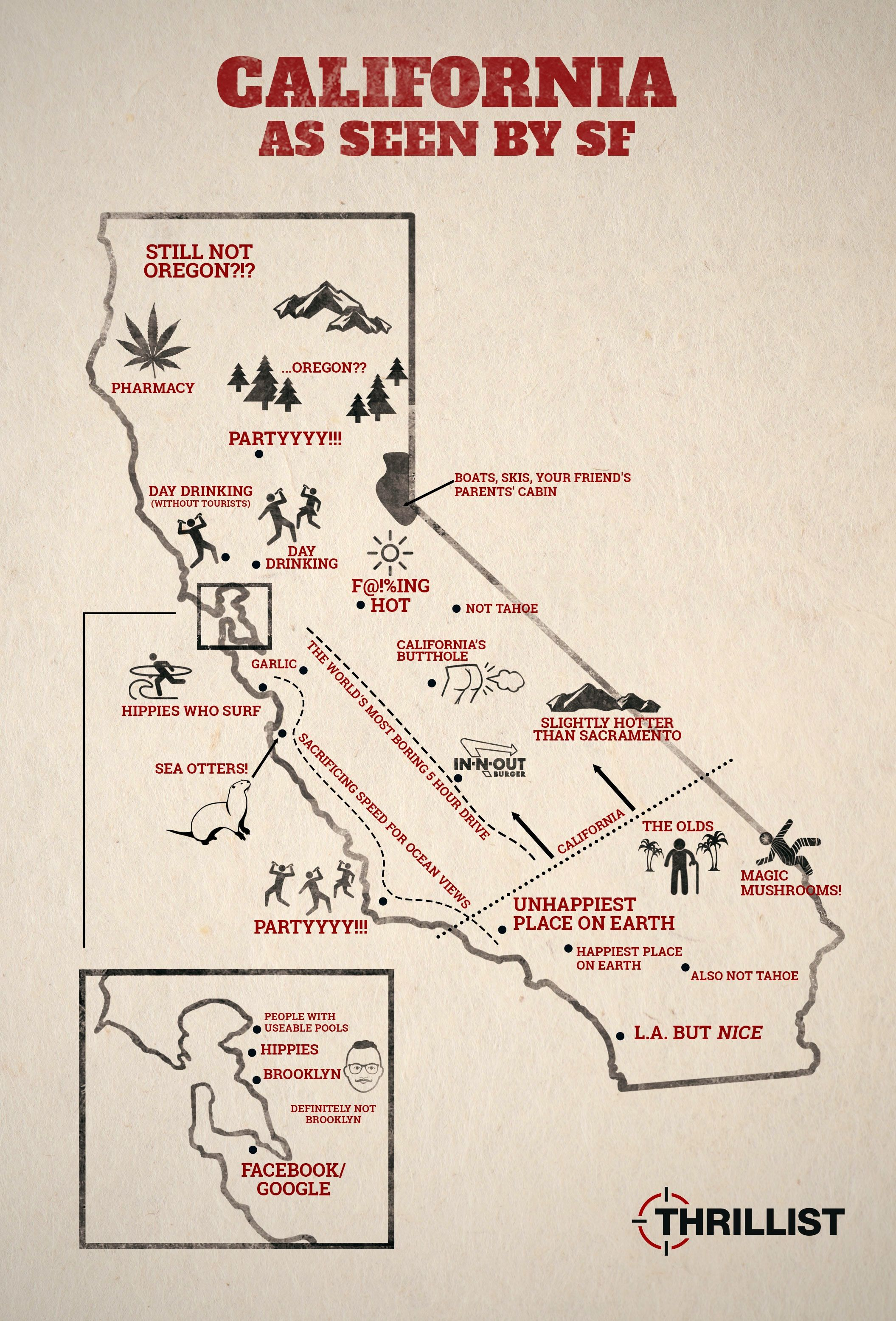 California as seen by San Franciscans Map Quest Pinterest