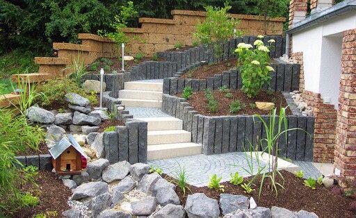 steintreppe aus granit mosaik basalt palisaden und natur blockstufe garten pinterest. Black Bedroom Furniture Sets. Home Design Ideas