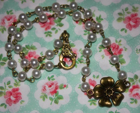 Handmade Antique Bronze Beaded Flower Necklace With by PlasticFloozy, £4.99