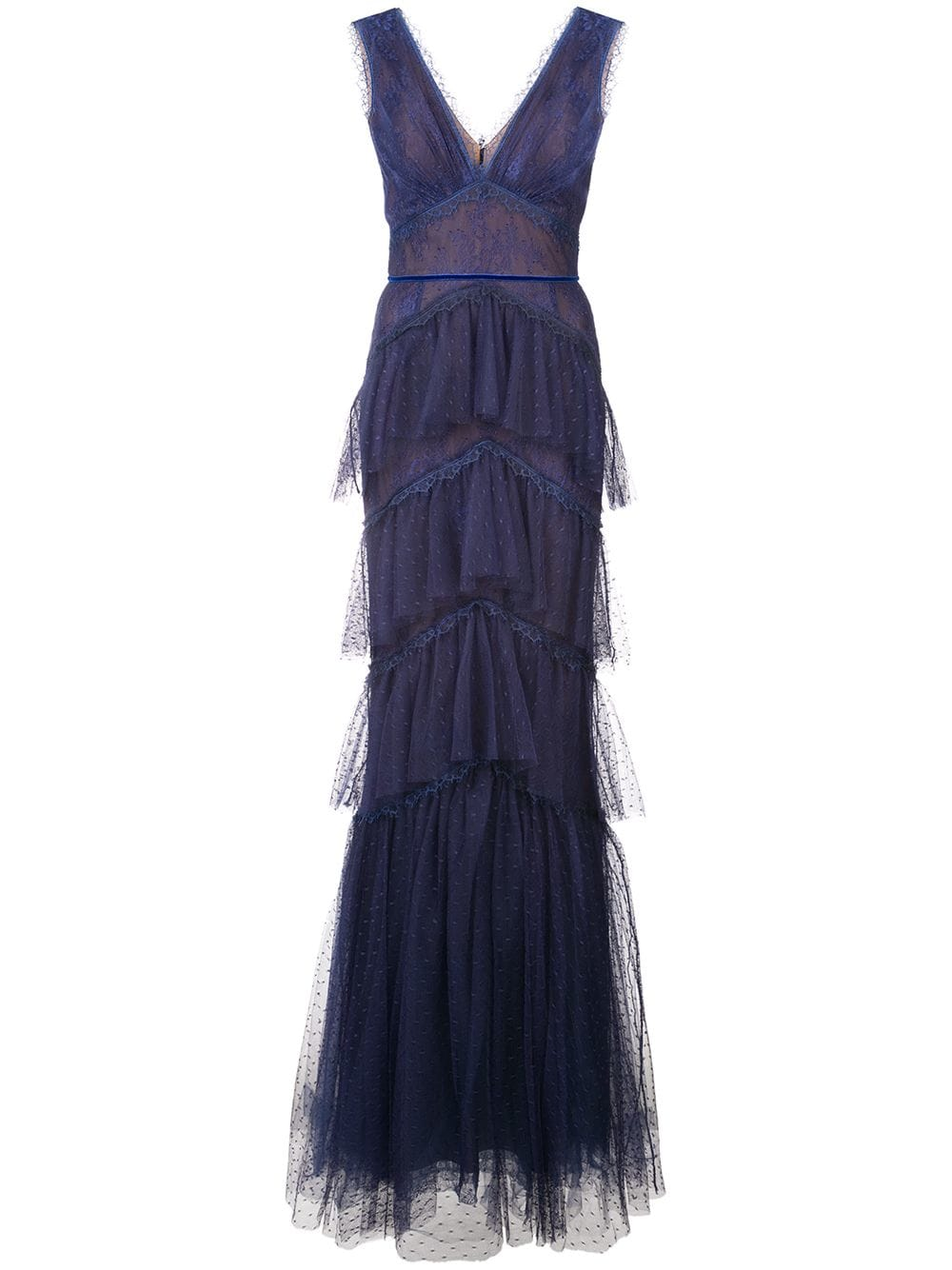 Marchesa Notte Tiered Chantilly Lace Gown Blue In 2019