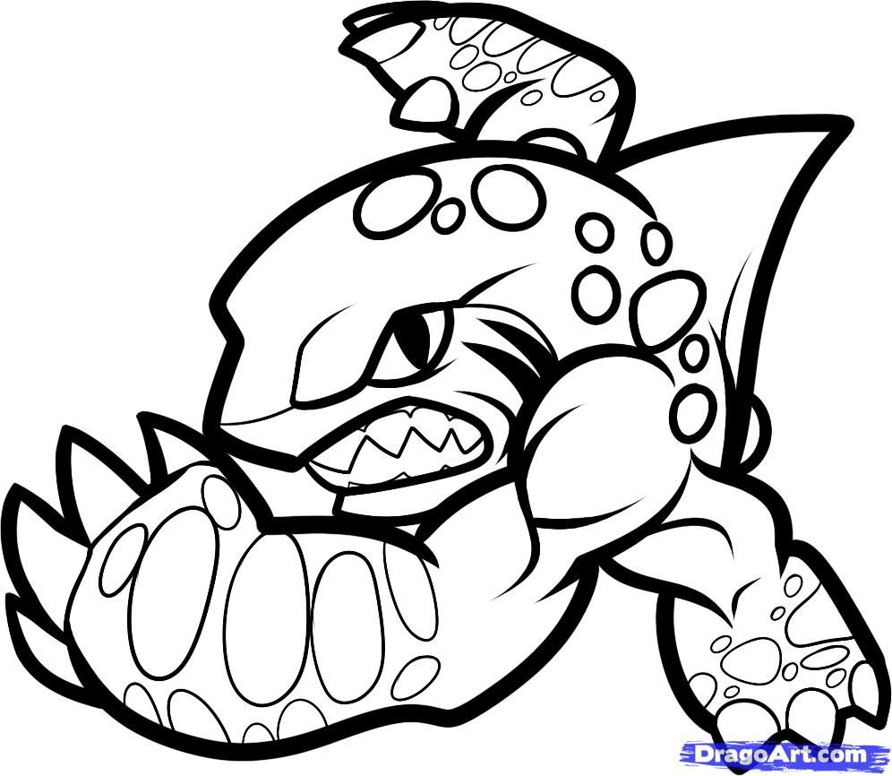How to Draw Terrafin, Skylanders, Step by Step, Video Game