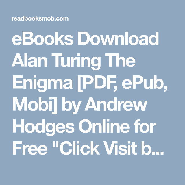 Alan Turing The Enigma Pdf