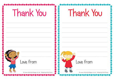 Children Thank You Notes  Writing    Note Children