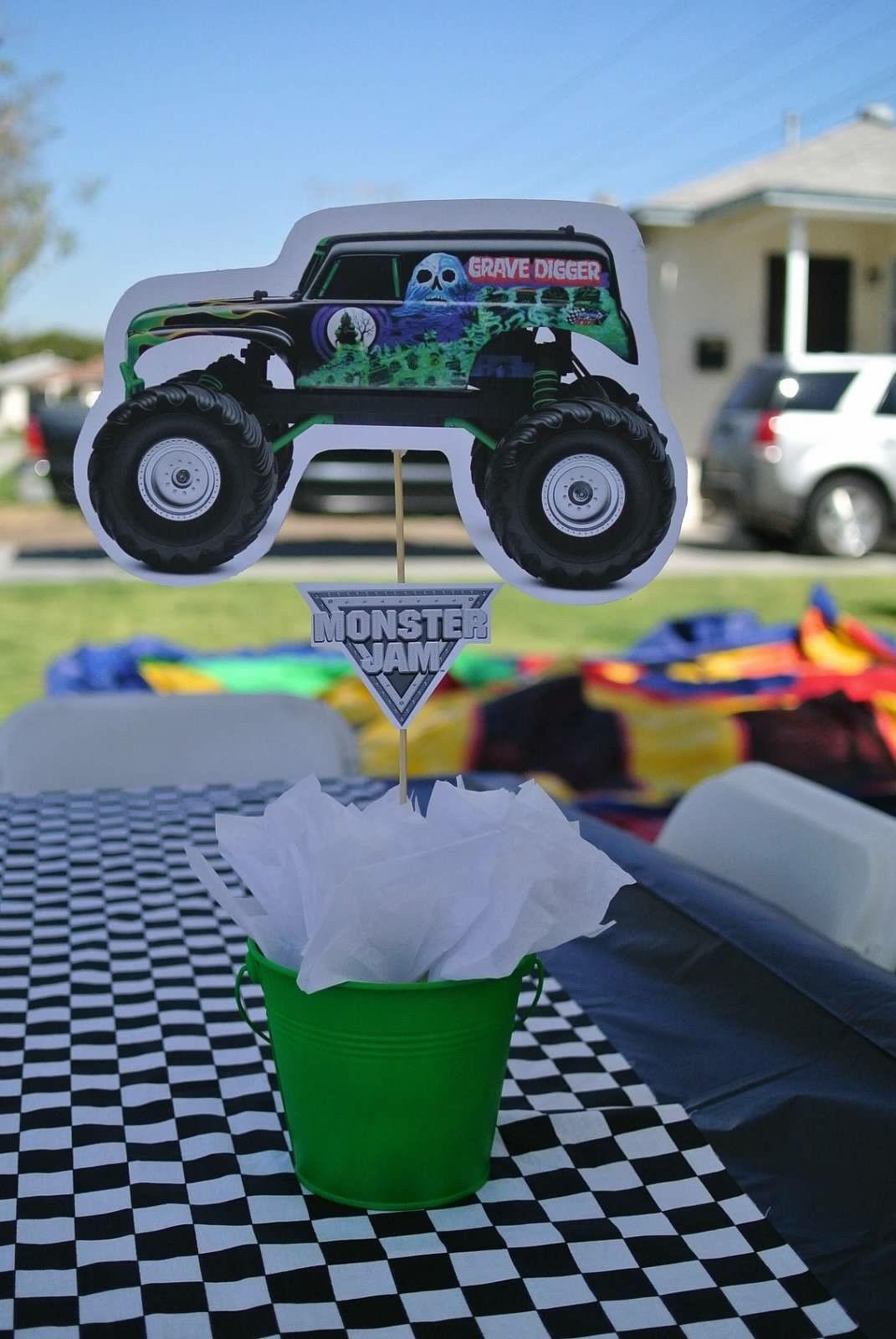 monster truck grave digger centerpieces jrs party pinterest