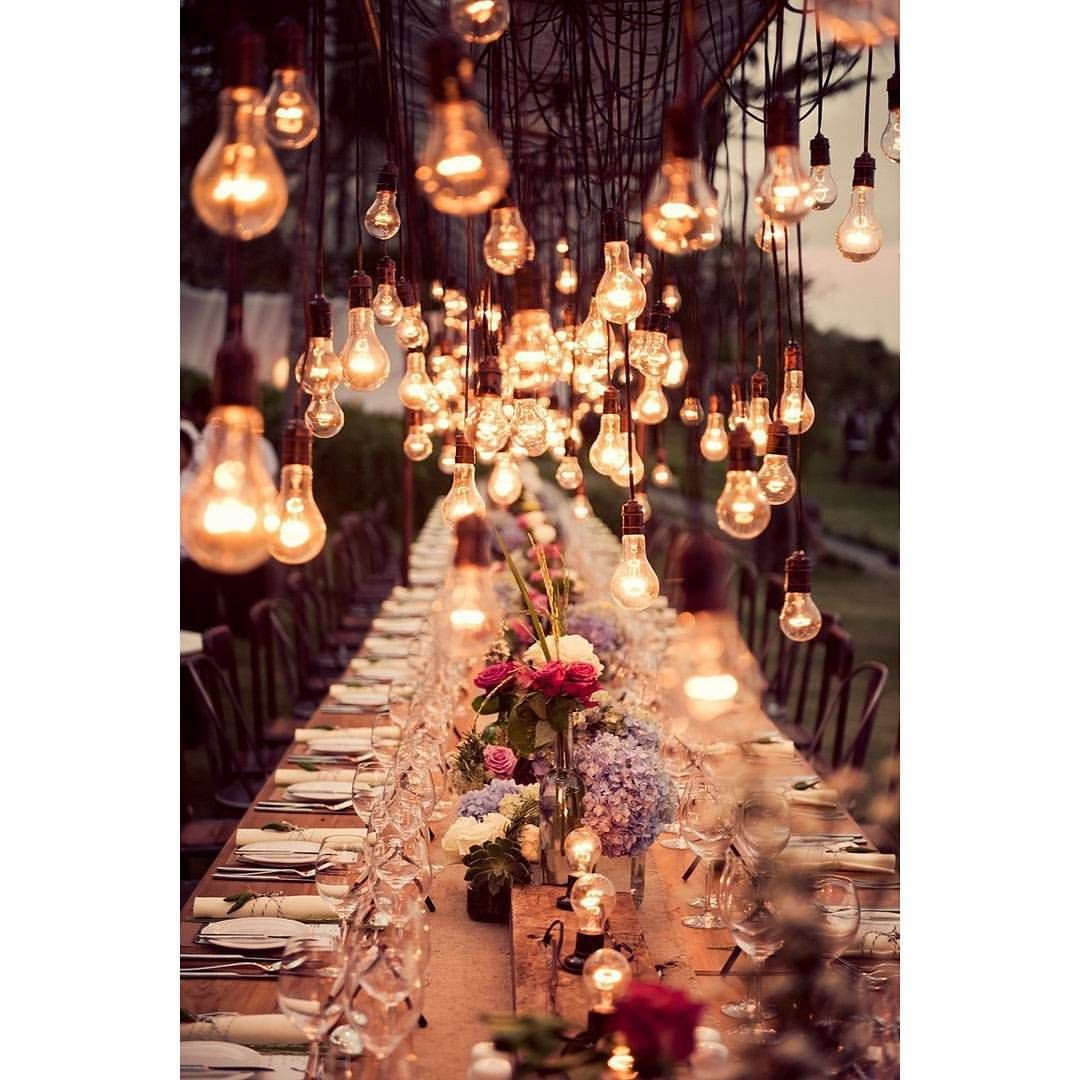 Hopelessly Romantic Wedding Reception With Edisonlightbulbs As