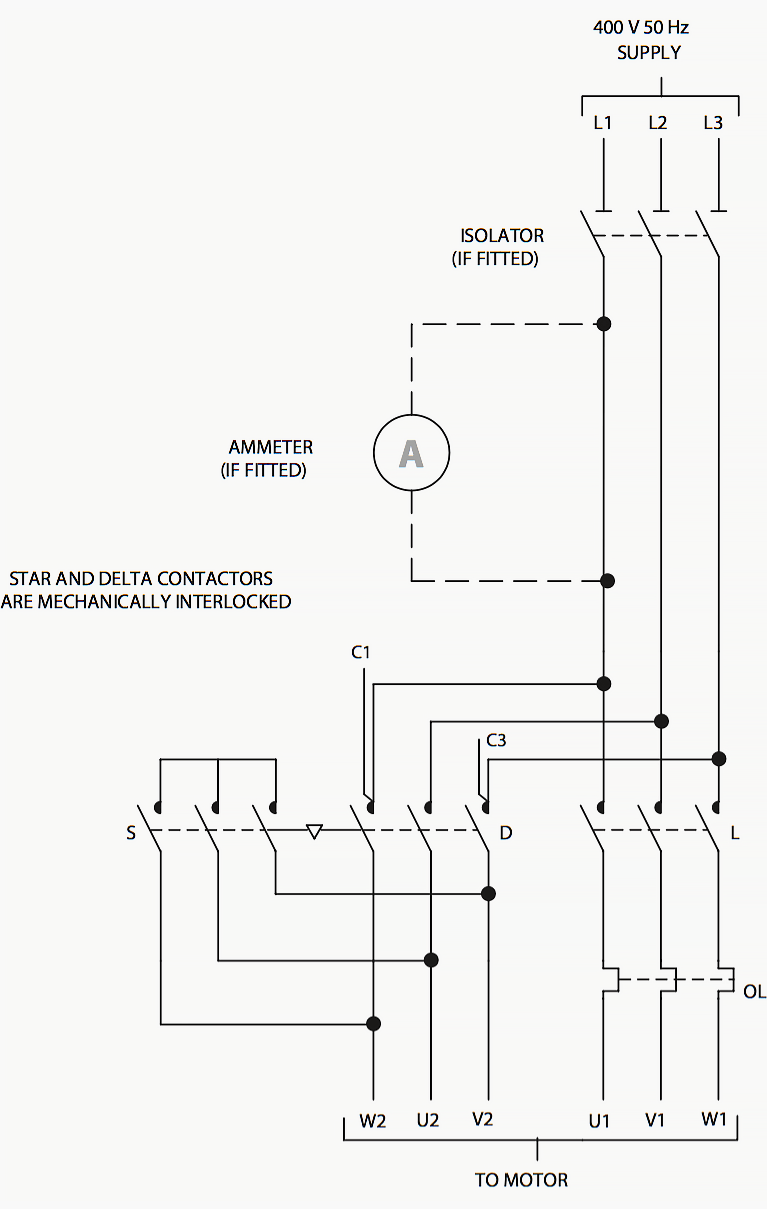 Wiring diagram of star-delta starter
