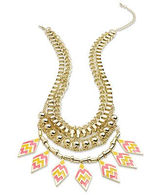 Material Girl Necklace, Gold-Tone Tribal Statement Necklace