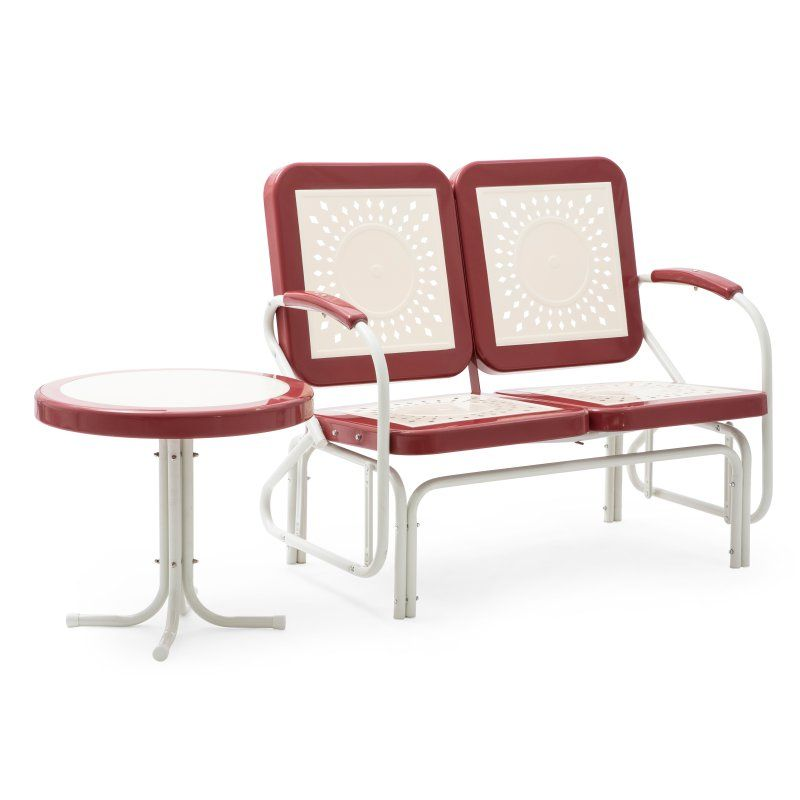 Outdoor Coral Coast Corby Metal Glider Bench With Side Table