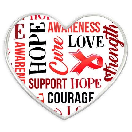 02bcc75050c Red Heart Awareness Words Pin. 7/8