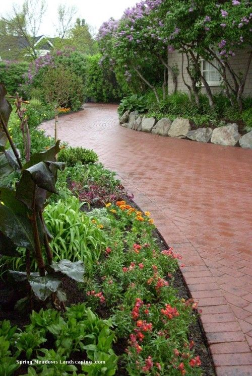By Spring Meadows Landscaping Ltd Calgary Front Yard Walkway Garden Landscape Design Landscape Design Landscaping Calgary