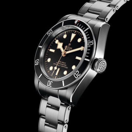 New Tudor Heritage Black Bay with in-house COSC movement and riveted bracelet.