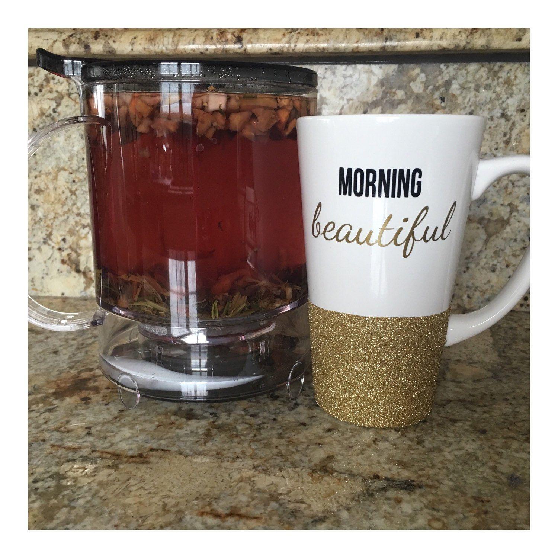 Good Morning Beautiful Personalized Latte Mug//Glittered