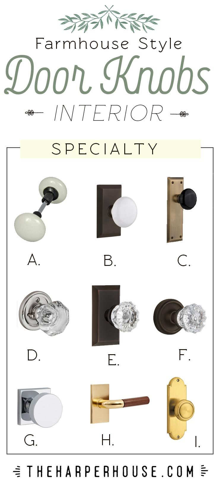 Roundup of glass crystal porcelain and brass door knobs to help you get the modern farmhouse look in your home