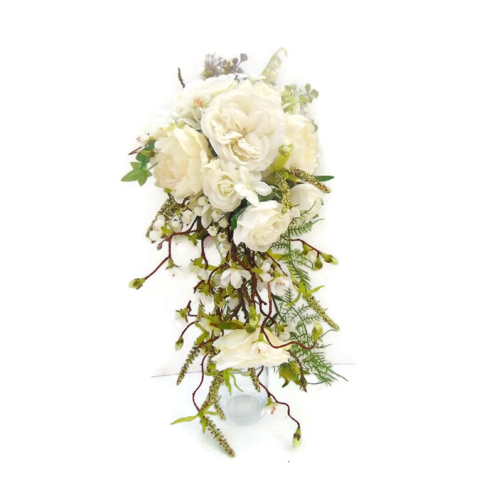 Wedding bouquets teardrop  Cascading Shower Wedding Bouquet with Cream Silk roses  Silk