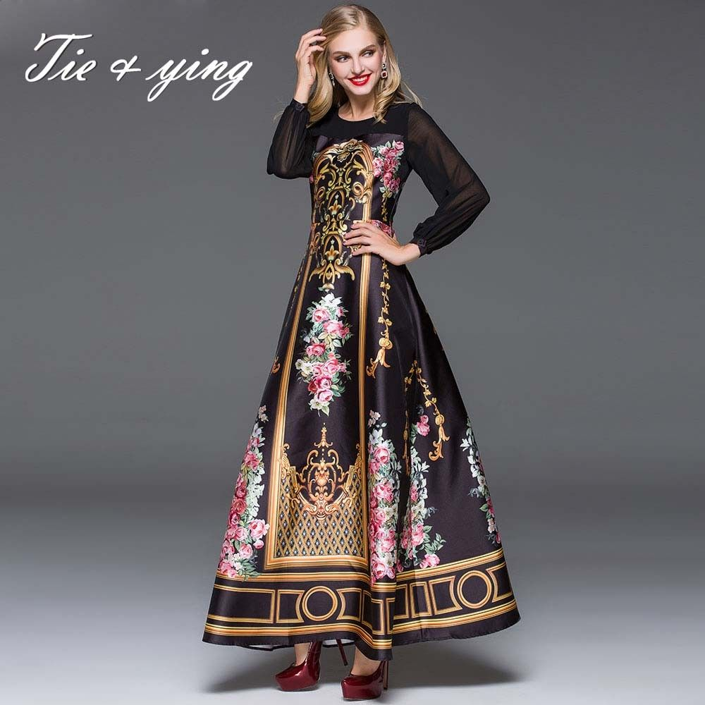 Imported clothing elegant women clothes women long dresses 2015 autumn winter America Europe fashion runway vintage print dress-in Dresses from Women's Clothing & Accessories on Aliexpress.com | Alibaba Group