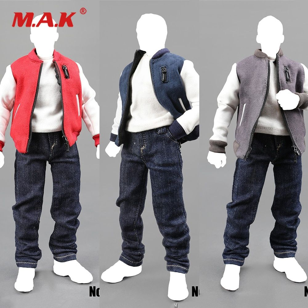 1//6 Male Clothes Bomber Jacket Outfit for 12/'/' Action Figure Model Toy Black