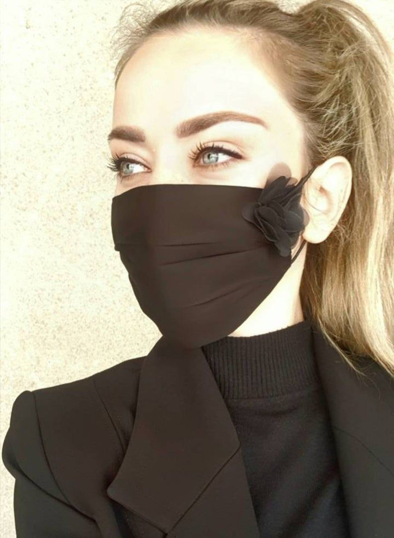 Photo of READY TO SHIP Face Mask With Filter Pocket, Filter, Mask Sheet, Reusable Cotton Face Mask, Washable Mask, Black Extravagant Mask With Flower