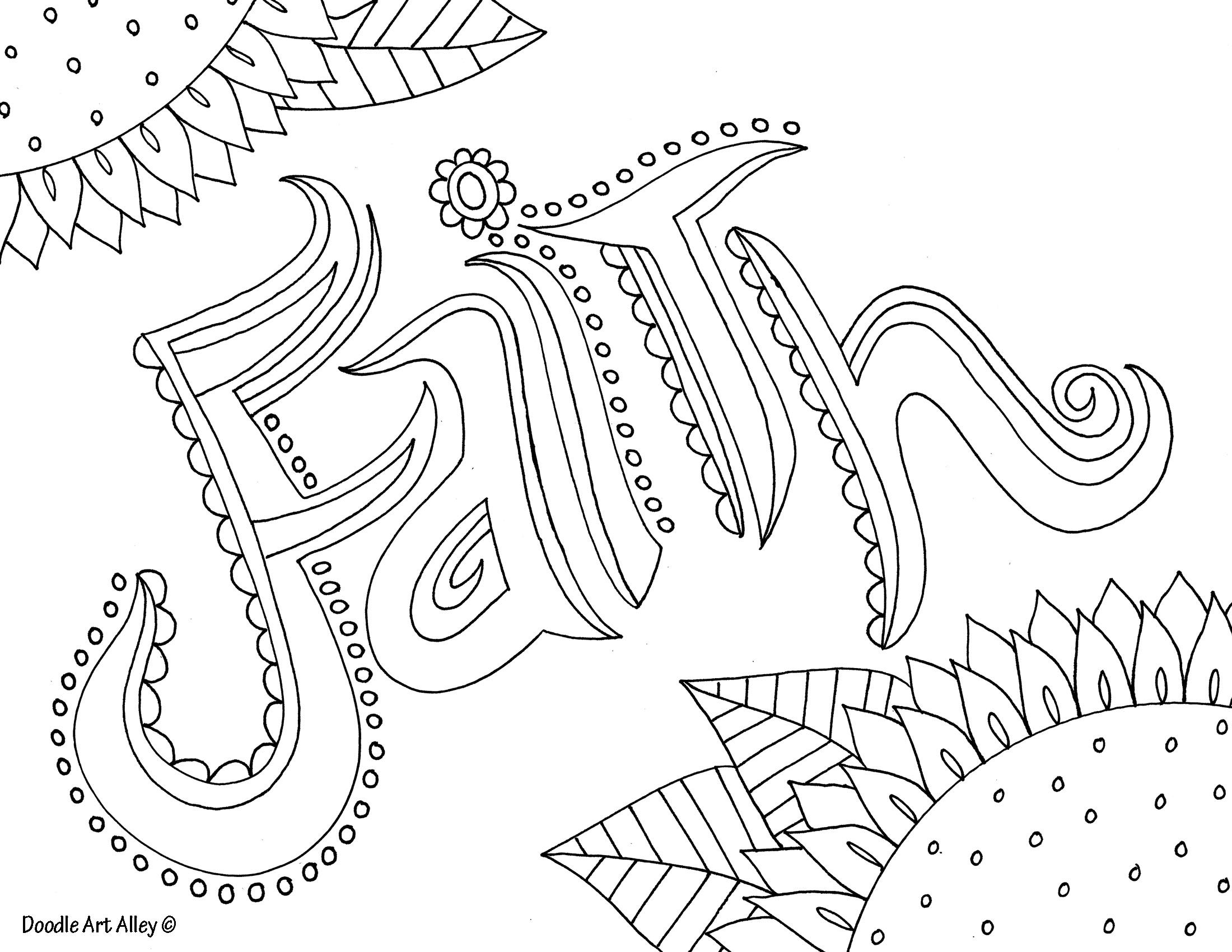 Faith http://www.doodle-art-alley.com | Adult Coloring Pages ...