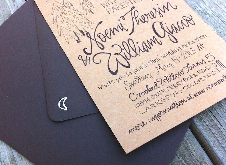 Noemi BJs Hand Lettered Kraft Paper Wedding Invitations Kraft