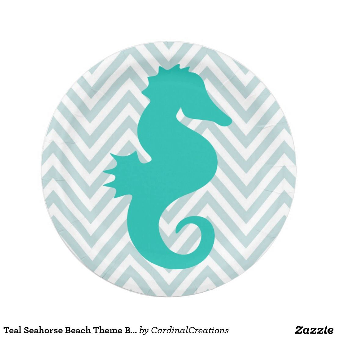 Teal Seahorse Beach Theme Baby Shower Paper Plates Zazzle Com