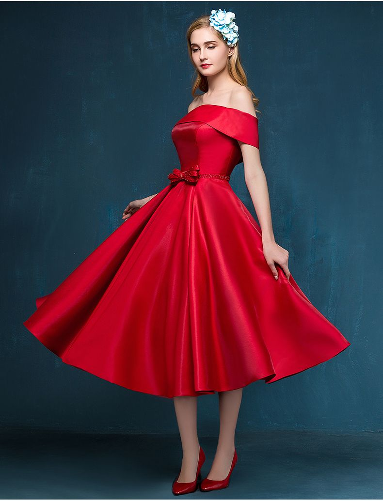 279842ebdd1 Fashion Off the shoulder Bow A line Satin Red Tea Length Cocktail Prom  Party Dress Lace up Back robe de cocktail 2015-inCocktail Dresses from  Weddings ...