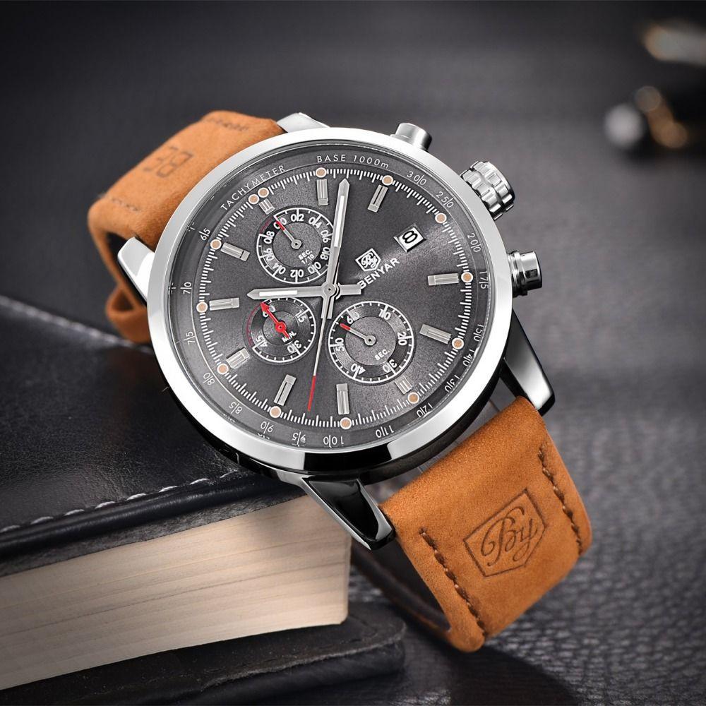 ec6dc8448b0 cool BENYAR Watch Men Sport Mens Watches Top Brand Luxury Military Quartz  Watch Chronograph Waterproof Clock
