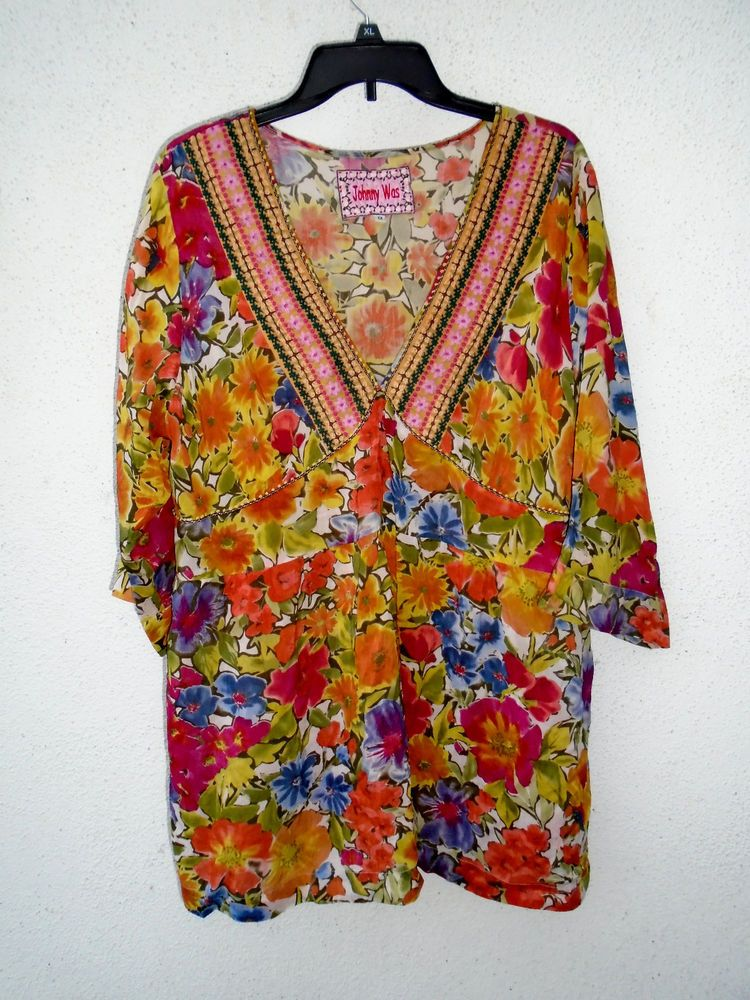 JOHNNY WAS Multi-Color Floral Babydoll Top Blouse Size 1X #JohnnyWas #Blouse
