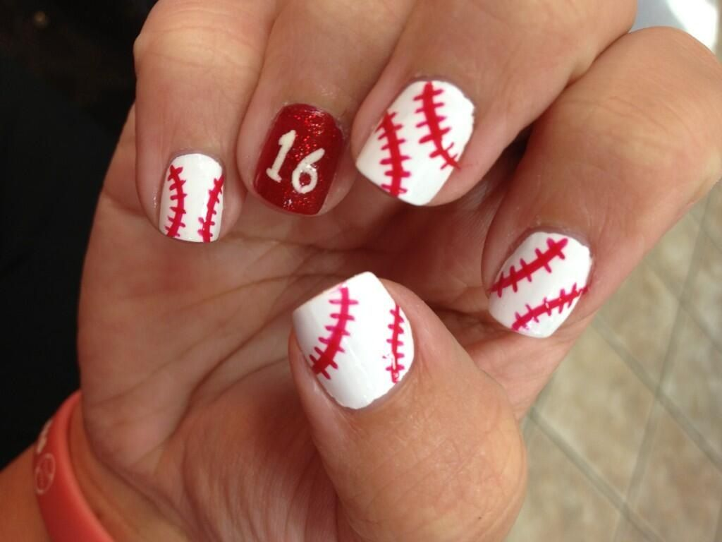 @Tiffany Reisch Or maybe just one baseball nail and the rest red:) - Tiffany Reisch Or Maybe Just One Baseball Nail And The Rest Red