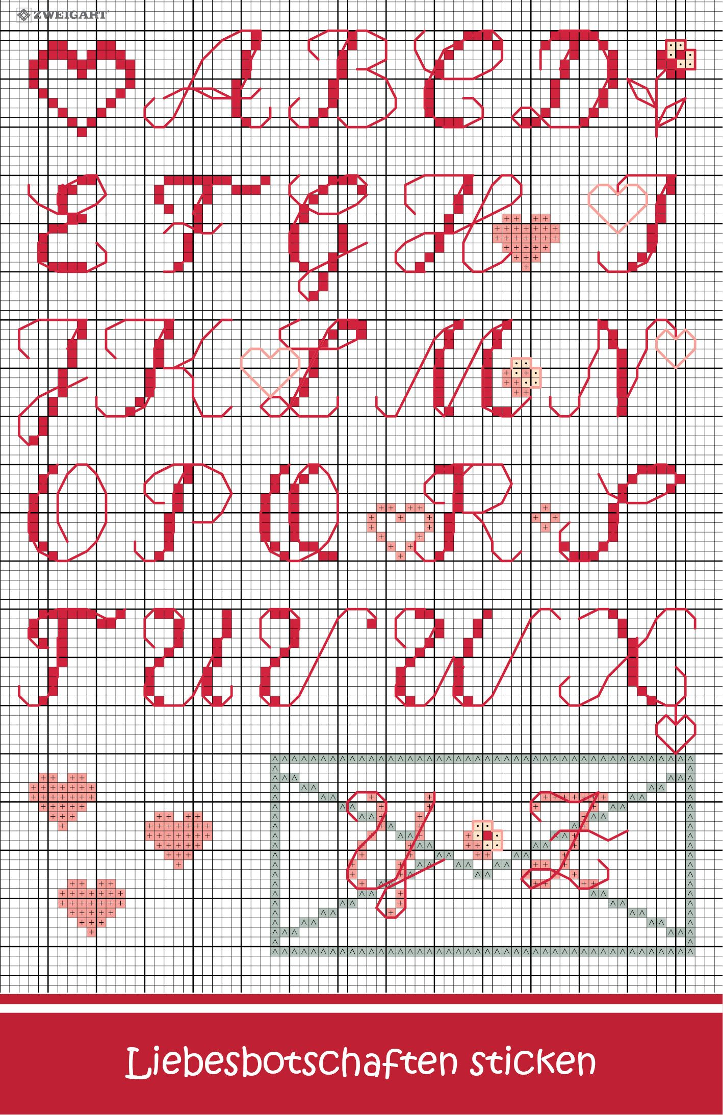 Strickbuchstaben Buchstaben Sticken Kreuzstichbuchstaben