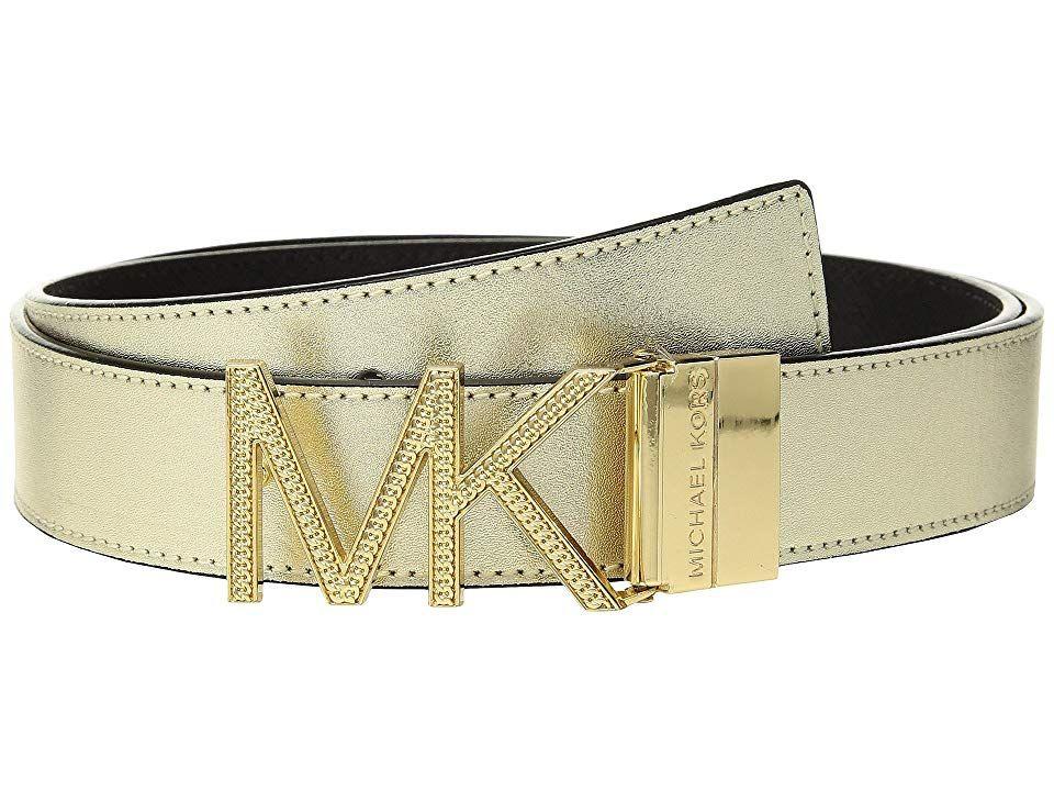 MICHAEL Michael Kors Reversible Chain Logo Hardware Belt GoldBlack Womens Belts Seduce your onlookers with this stunning Reversible Chain Logo Hardware Belt Made of manma...