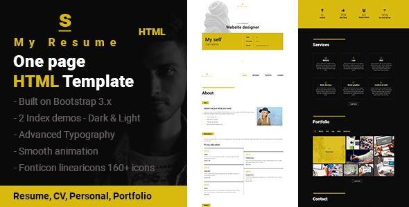 S  Resume Cv Portfolio One Page Html Template Personal  Http