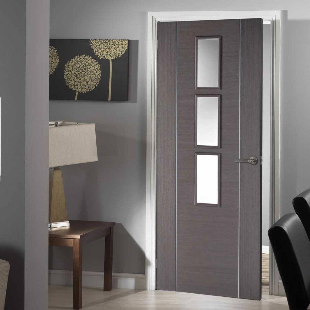 Door Set Kit Chocolate Grey Alcaraz Door - Clear Safe Glass - Prefinished & Door Set Kit Chocolate Grey Alcaraz Door - Clear Safe Glass ...