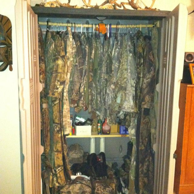 ac59a1df84022 Rubbermaid outdoor tool shed used as indoor hunting gear storage closet! I  think we'll both need our own!!