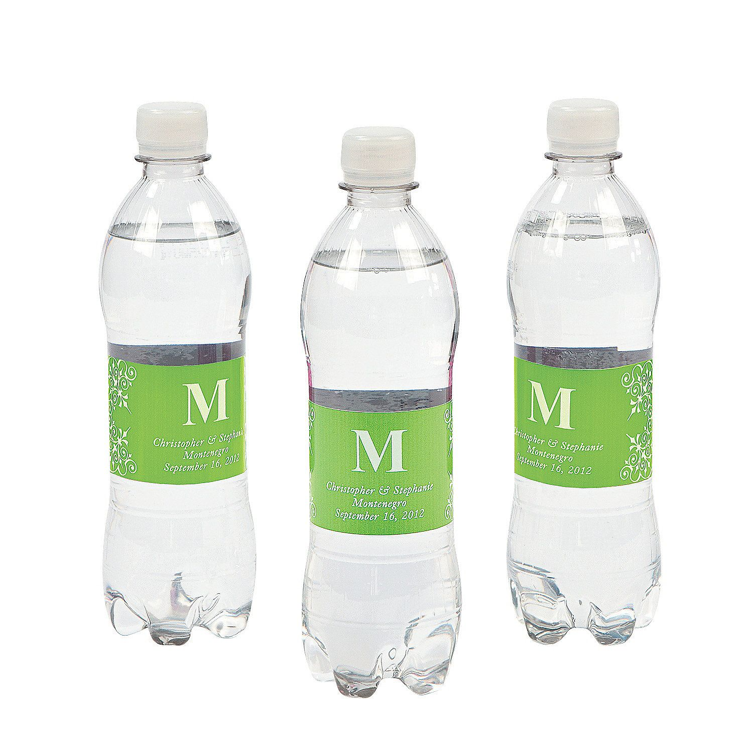 Personalized Monogram Bottle Labels Lime Green