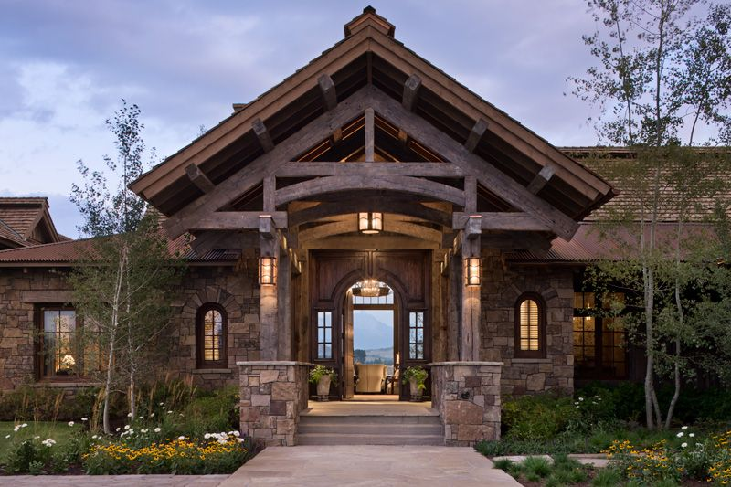 Front Entrance Awesome Love Wood N Stone Rustic Home Design