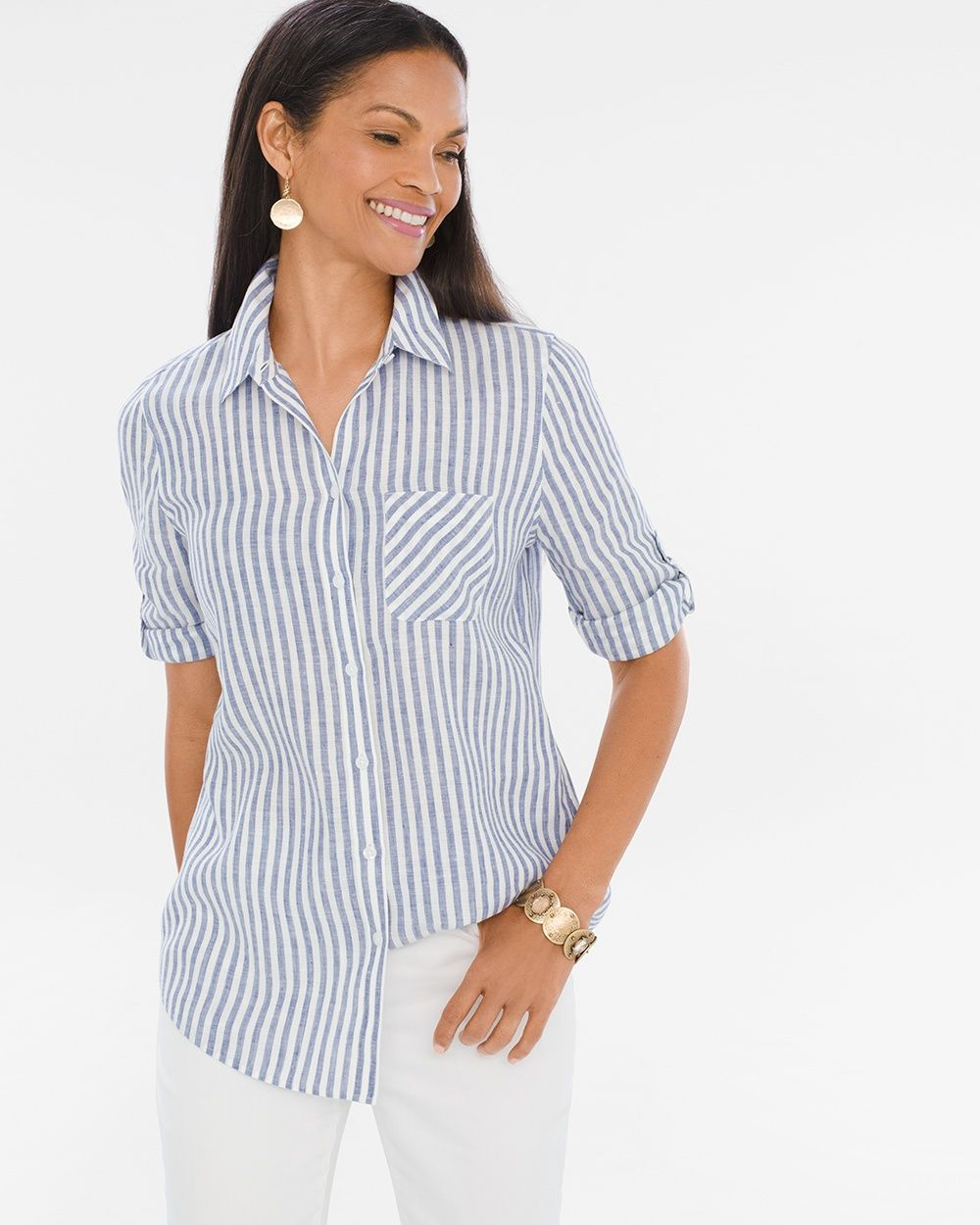f241f184b2 Chico s Women s No-Iron Linen Striped Crisscross-Back Shirt