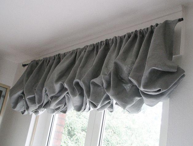 shabby chic ballon raffrollo french leinen grau leinen. Black Bedroom Furniture Sets. Home Design Ideas