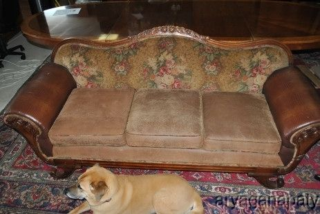 Antique Embossed Leather Amp Fabric Couch Circa 1900 S Sofa