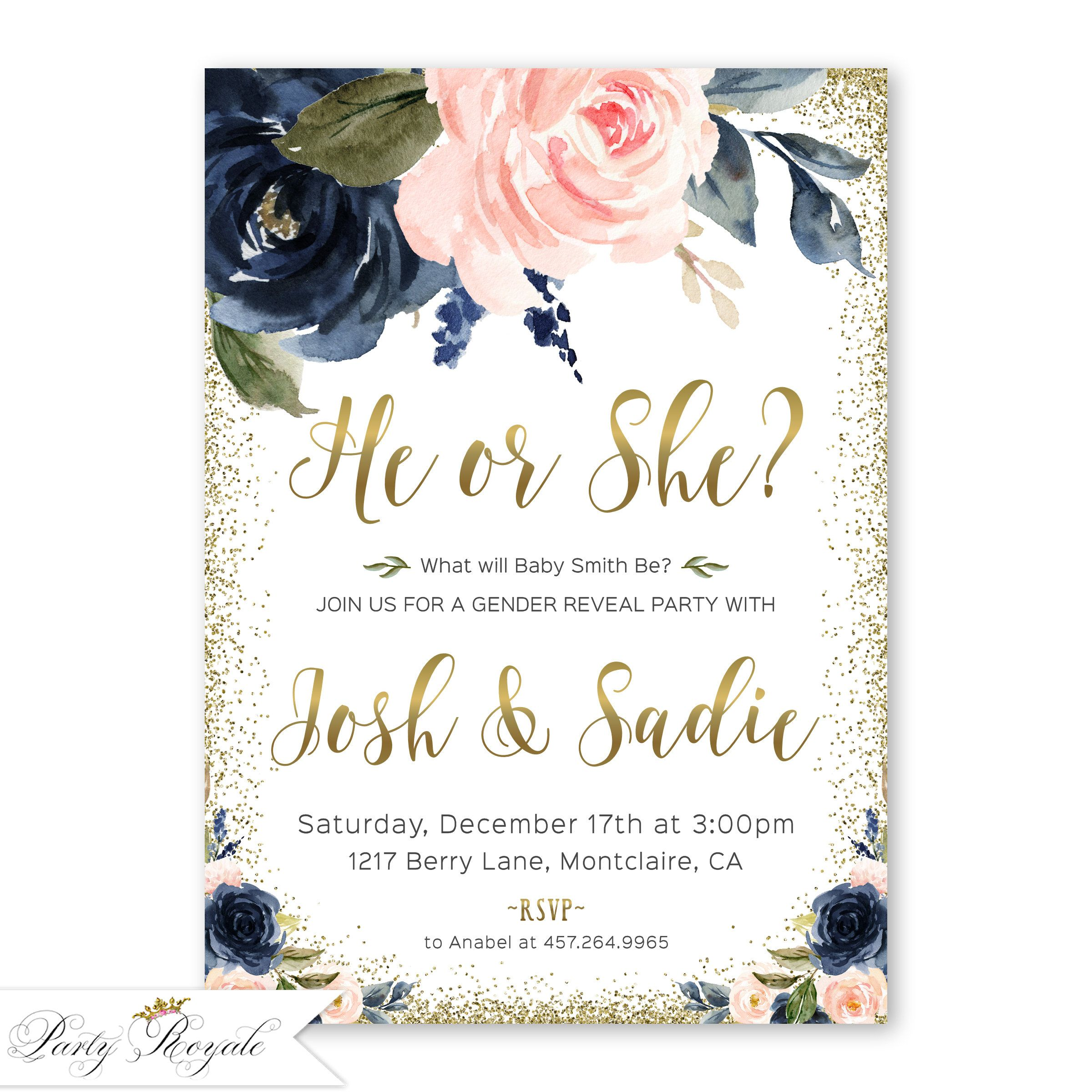 Floral Gender Reveal Invitation Navy Blue And Blush Pink Gender