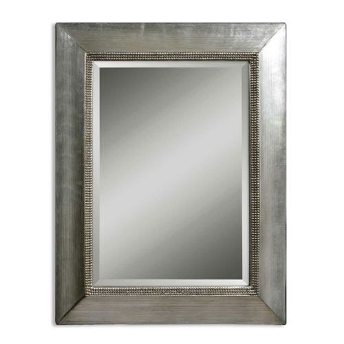 Fresno Scratched Silver Leaf Rectangular Mirror