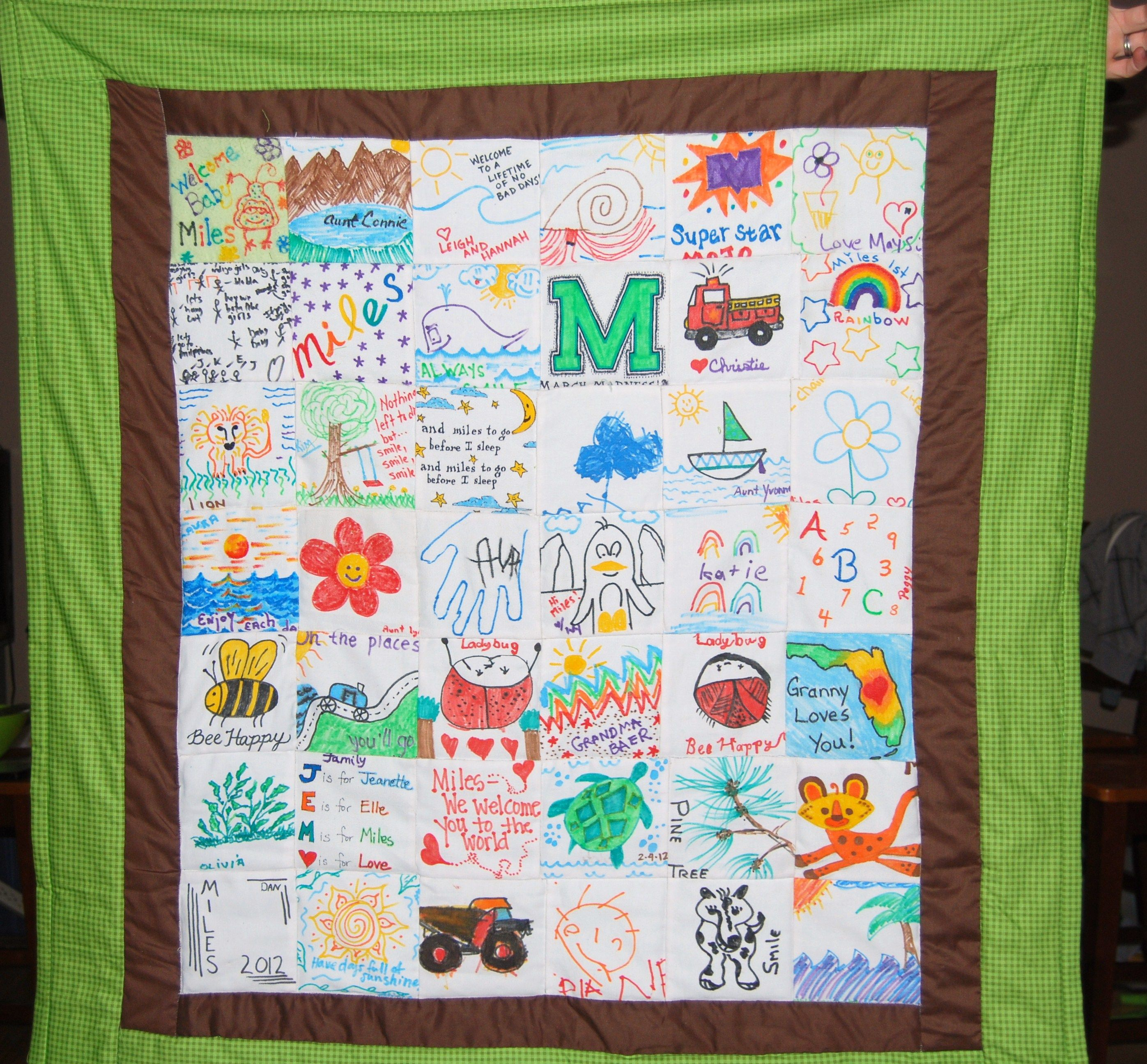 Baby shower quilt, have people decorate quilt squares with fabric ... : photo quilt squares - Adamdwight.com