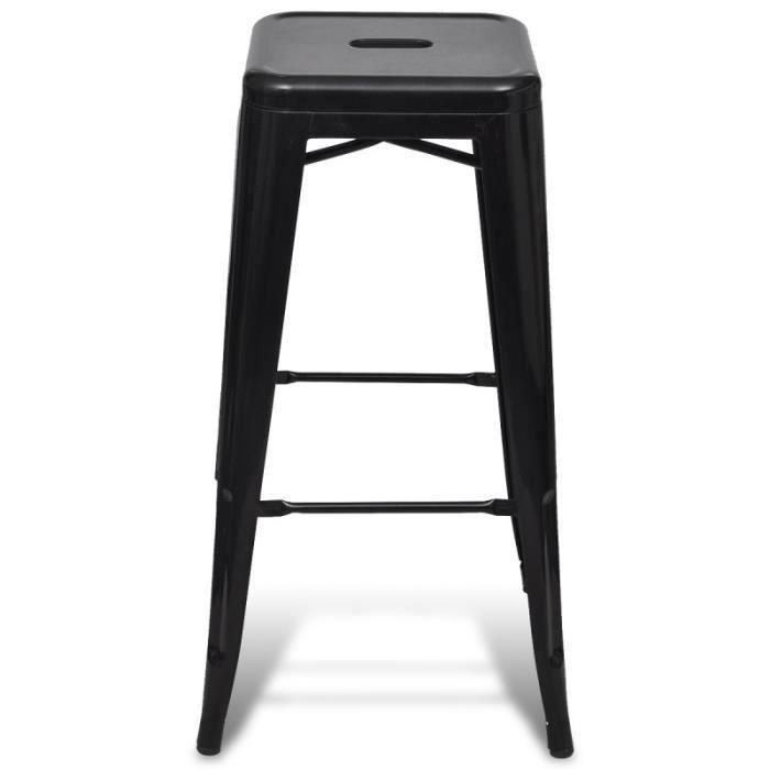 lot de 2 tabourets de bar acier factory design moderne noir 1202003 tabouret noir tabourets. Black Bedroom Furniture Sets. Home Design Ideas
