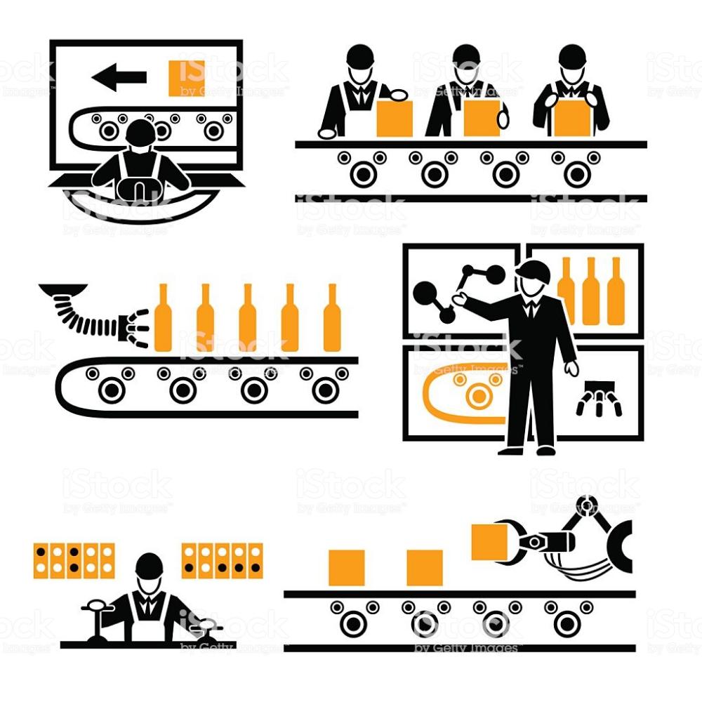 Factory Production Process Icons Set Technology Machine Process Vector Illustration Icon Set Graphic Design Logo